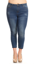 Be Girl Indigo Wash Raw Hem Skinny Crop Jeans - Plus