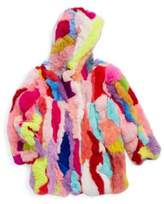 Adrienne Landau Toddler's, Little Girl's & Girl's Rex Multicolor Rabbit Fur Jacket