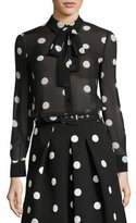 Moschino Long-Sleeve Tie-Neck Polka-Dot Silk Blouse
