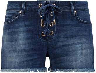 Melissa Odabash Embellished Denim Lace-Up Shorts