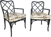 One Kings Lane Vintage Faux Bamboo & Chintz Chairs, Pair