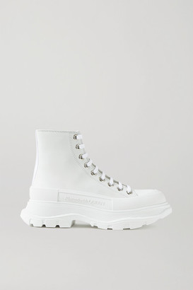 Alexander McQueen Canvas And Rubber Exaggerated-sole Ankle Boots - White