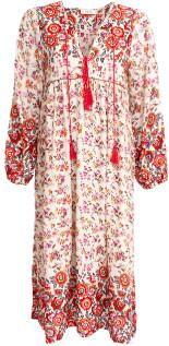 YINCA - Floral Red/ Pink Long Sleeve Bohemian Dress Yinca. - small