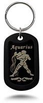 Kriskate & Co. Laser Engraved Aluminum Dog Tag Key Chain with Aquarius Design - akc012-aqu