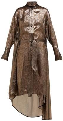 Petar Petrov Dellar Asymmetric Silk Blend Lame Midi Dress - Womens - Gold Multi