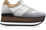 Hogan Maxi H222 Suede and Leather Ultra-light Wood-Effect Flatform Sneakers
