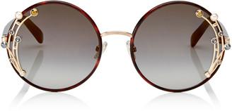 Jimmy Choo GEMA Dark Havana Round Shaped Metal Sunglasses with Swarovski Crystals and Pearls