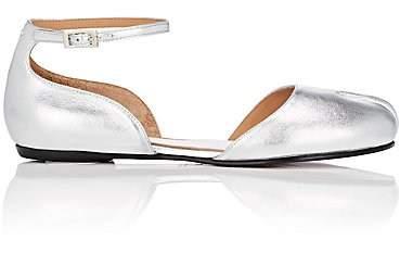 Maison Margiela Women's Tabi Leather Ankle-Strap Flats - Silver