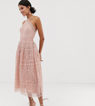 Asos Tall DESIGN Tall lace midi dress with pinny bodice-Pink