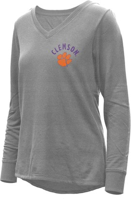Women's Heathered Gray Clemson Tigers Belle Relaxed Tri-Blend V-Neck Pullover Sweatshirt