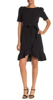 Calvin Klein Polkadot Print Ruffle Trim Tie Waist Dress