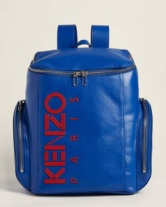 Kenzo Blue & Red Leather Logo Backpack