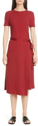Rosetta Getty Apron Wrap Midi T-Shirt Dress