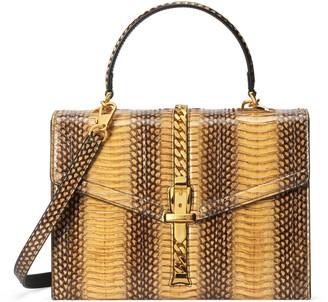 Gucci Sylvie 1969 snakeskin small top handle bag