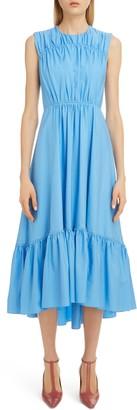 Roksanda Flounce High/Low Hem Cotton Poplin Midi Dress