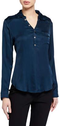 Chaser Silky Henley Shirt, Blue