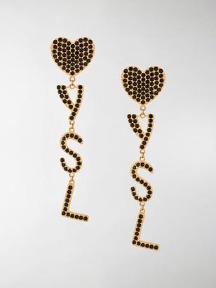 Saint Laurent Crystal-Embellished Logo Pendant Earrings