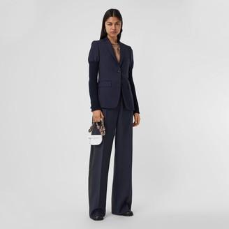Burberry Side Stripe Mohair Wool Wide-leg Trousers