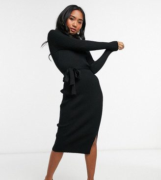 New Look Petite tie-waist rib midi dress in black