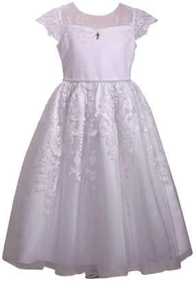 Bonnie Jean Embroidered Illusion Flutter Sleeve Communion Dress