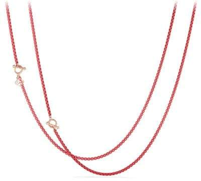 David Yurman Dy Bel Aire Chain Necklace In Coral Color With 14K Rose