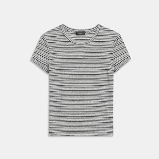 Theory Tiny Tee in Striped Linen Jersey