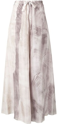 Masnada Drawstring Ink Print Silk Skirt