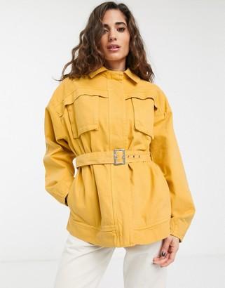 ASOS DESIGN denim utility shacket in yellow
