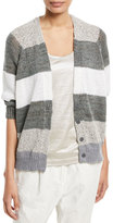Brunello Cucinelli Coated Rugby-Stripe Cardigan with Metallic
