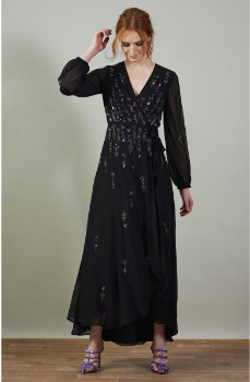 Hope & Ivy Black Polyester Maxi Wrap Dress - 8 | polyester | black - Black/Black