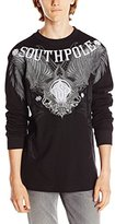 Southpole Men's Flock and Screen Print Graphic Thermal Shirt with Large Wings On Chest