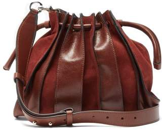 Isabel Marant Accordion Suede And Leather Bag - Womens - Dark Tan