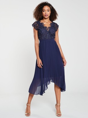 Very Bridesmaid Lace Pleated Occasion Dress - Navy