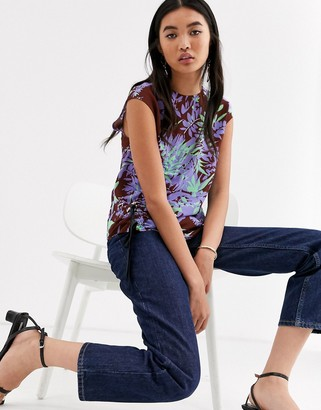 Asos palm print ruched side top