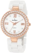 Peugeot Women's White Ceramic 14K Rose Gold Plated Roman Numeral Face Crystal Dress Watch 7078WRG