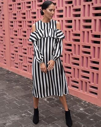 The Drop Women's Black/White Stripe Cold-Shoulder Long-Sleeve Midi Dress by @jonnycota