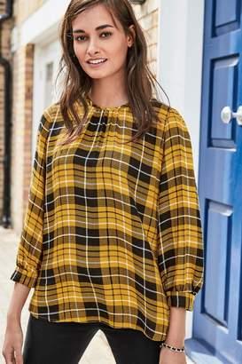 Next Womens Ochre Check Tie Back Top - Yellow