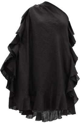 Kalita Zahara One-shoulder Ruffled Linen Mini Dress - Black