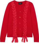 Simone Rocha Embroidered Merino Wool, Silk And Cashmere-blend Cardigan