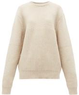 Raey Contrast-panel Chunky-knit Wool Sweater - Womens - Beige