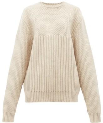 Raey Contrast Panel Chunky Knit Wool Sweater - Womens - Beige
