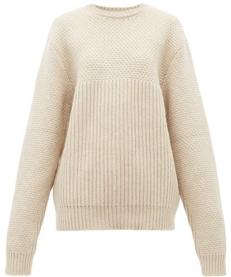 Raey Contrast-panel Chunky-knitted Wool Sweater - Womens - Beige