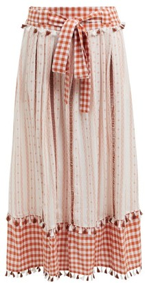 Dodo Bar Or Rodica Gingham Cotton Skirt - Womens - Tan Multi
