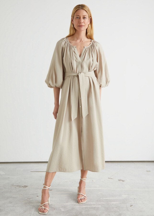 Belted Shell Button Midi Dress