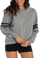 Heather Gray & Black Oversize Crewneck Pullover