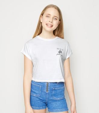 New Look Girls Plastic Free Slogan T-Shirt