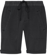 James Perse Stretch Cotton And Modal-blend Twill Shorts - Charcoal