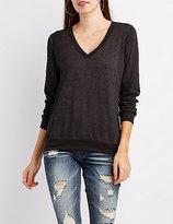 Charlotte Russe Mineral Wash V-Neck Sweatshirt