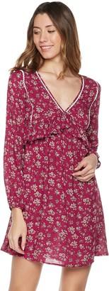 Plumberry Women's Long Sleeve Vintage Inspired Flowy Dress Wine Red XL