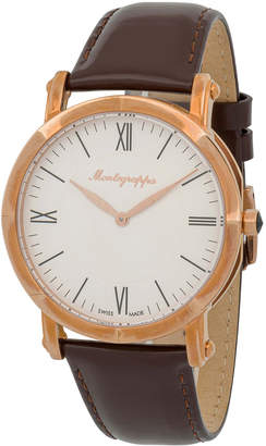 Montegrappa 40mm NeroUno Thin Watch w/ Leather Strap, Brown/Rose